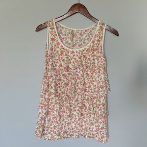 Andrea Floral Ruffle Tiered Tank Top